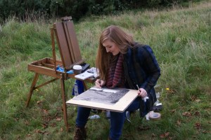 Artist Susannah Sendall creating art on Mousehold Heath at Paint Out Norwich 2015
