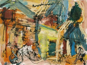 Denis Clarke, People Moving in Laneway, Mixed media