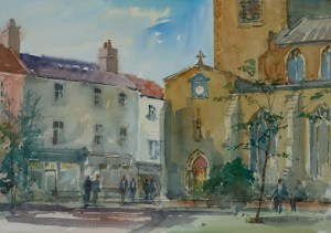 Artist Douglas Boyd Cross - St Gregory's, £250 12x16 Watercolour on Paper at Paint Out Norwich 2015 photo by Mark Ivan Benfield