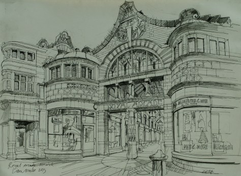 Artist Liam Wales - Royal Arcade, £750 16x24 Ink & Charcoal on Paper at Paint Out Norwich 2015 photo by Mark Ivan Benfield