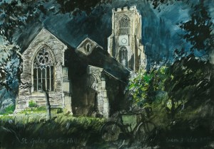Artist Liam Wales - St Giles on the Hill at Night 16x24 Ink, Watercolour & Charcoal on Paper at Paint Out Norwich 2015 photo by Mark Ivan Benfield