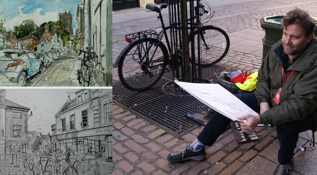 Artist Liam Wales painting Pottergate at Paint Out Norwich 2015