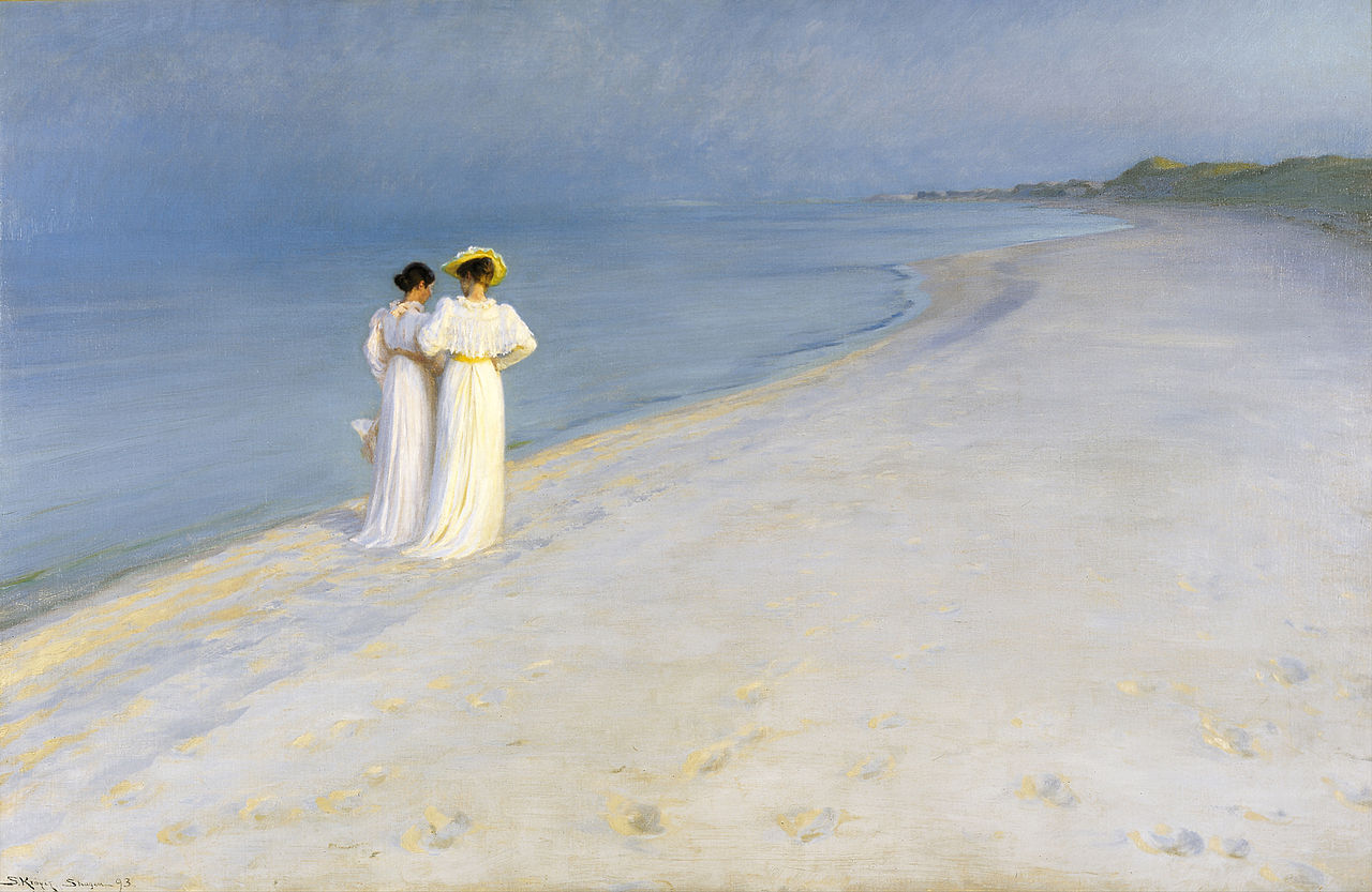 Summer Evening on the Skagen Southern Beach with Anna Ancher and Marie Krøyer, P. S. Krøyer, 1893