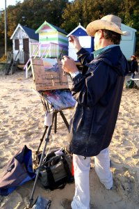 Will Topley painting the Wells-next-the-Sea sunrise