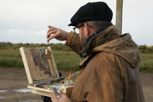 Second prize 'Blakeney Hard' being created at Paint Out Wells 2017 by Artist Sam Robbins. Photo by Katy Jon Went