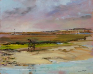 Artist Julie Hodgson, 'The Horse', Wells-next-the-Sea, Oil, 10x14in, £160. Paint Out Wells 2018