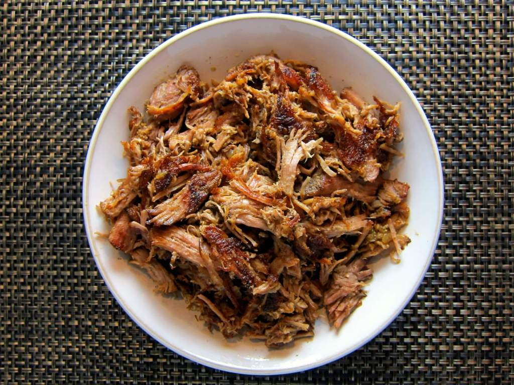 Instant Pot Carnitas in serving bowl landscape - Paint the Kitchen Red