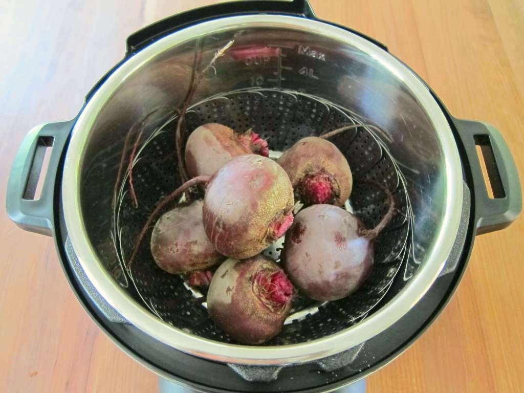 Instant Pot Beet Salad Beets in Inner Pot- Paint the Kitchen Red