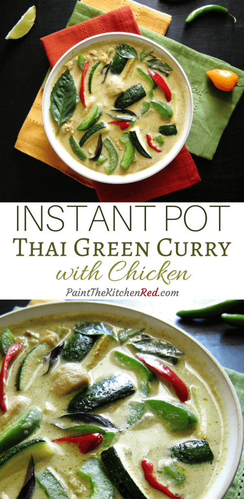Instant Pot Thai Green Curry is one of the easiest and tastiest curries you'll ever make. This spicy curry will rival your favorite Thai takeout green curry and can be ready in less than 20 minutes. From Paint the Kitchen Red