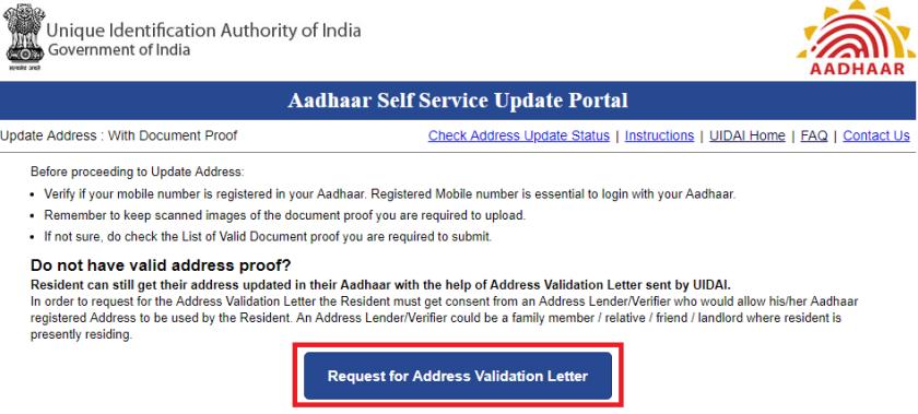 update Aadhaar using Validation Letter step 2