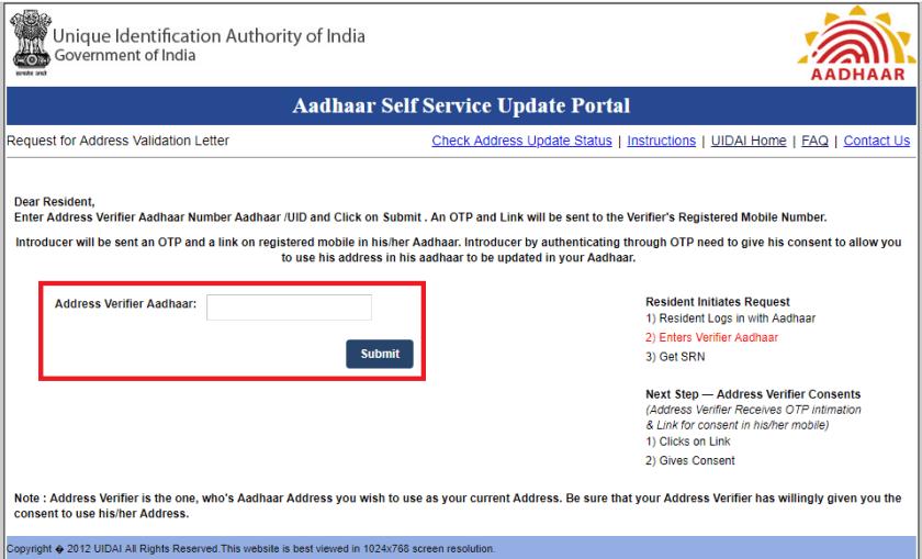 Aadhaar Address update using Validation Letter c