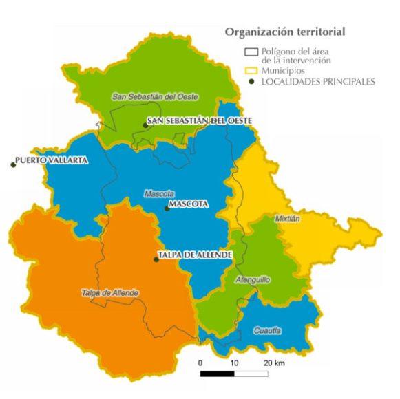 Municipios del área del Proyecto Paisaje Biocultural