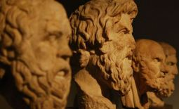 Busts of ancient philosophers.