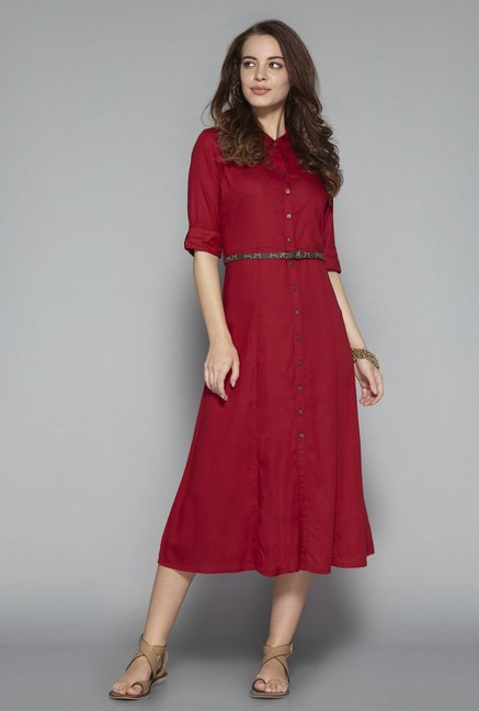 Bombay Paisley by Westside Dark Red Dress with Belt Price