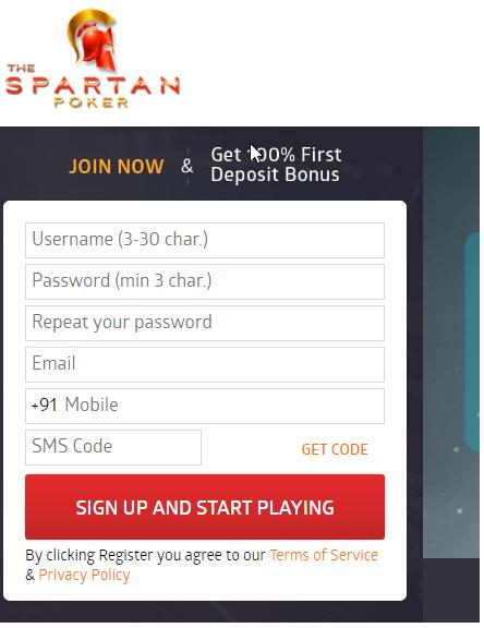 Singup on Using Spartan Poker Offers & Get Rs. 100 Joning Bonus