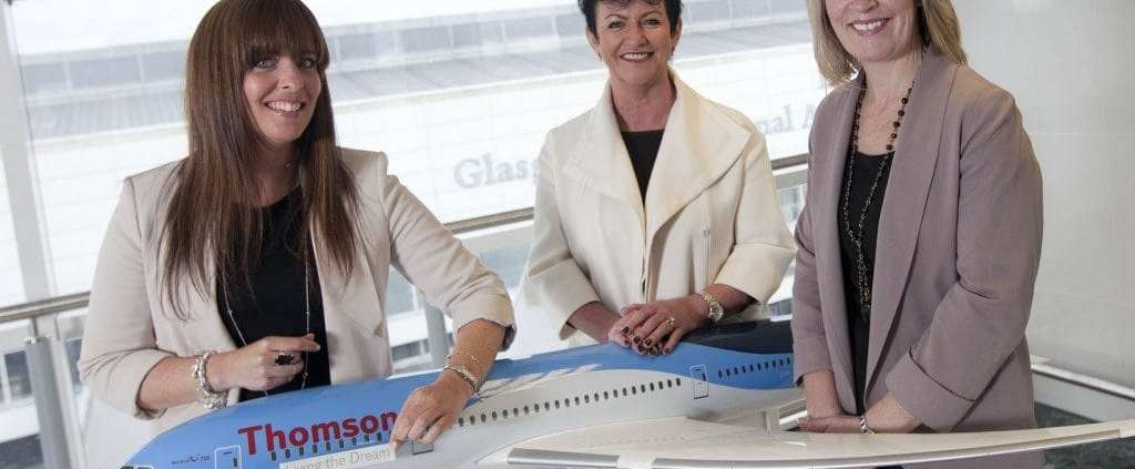 "Images of Thomson Dreamliner ""Living the Dream"" photoshoot at Glasgow Airport"