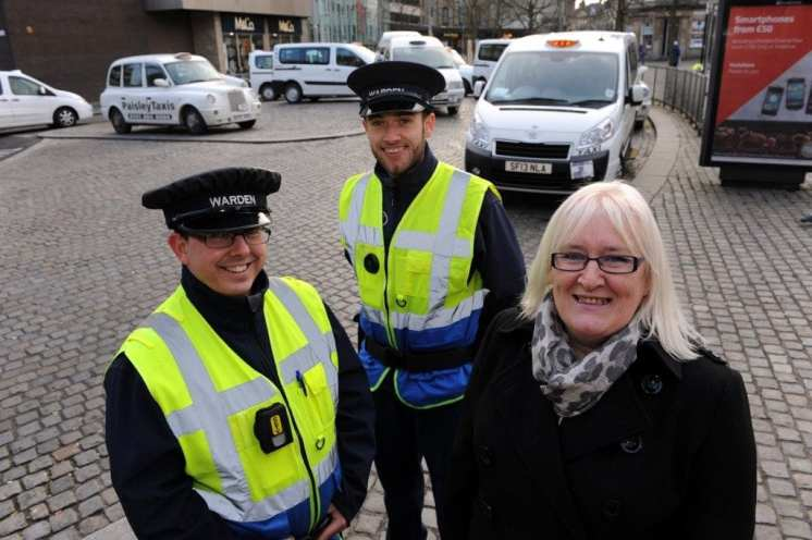 Cllr Margaret Devine with wardens Jason Hampsay (right) and Allan Mitchell