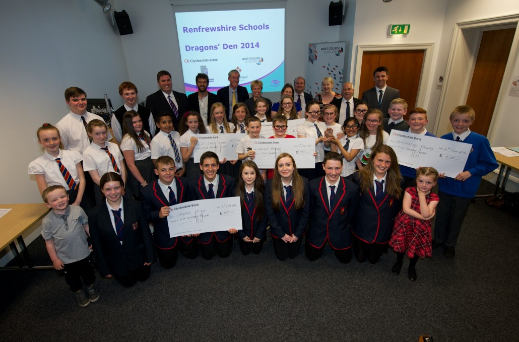 All the finalists of the Dragons Den competition with the Dragons