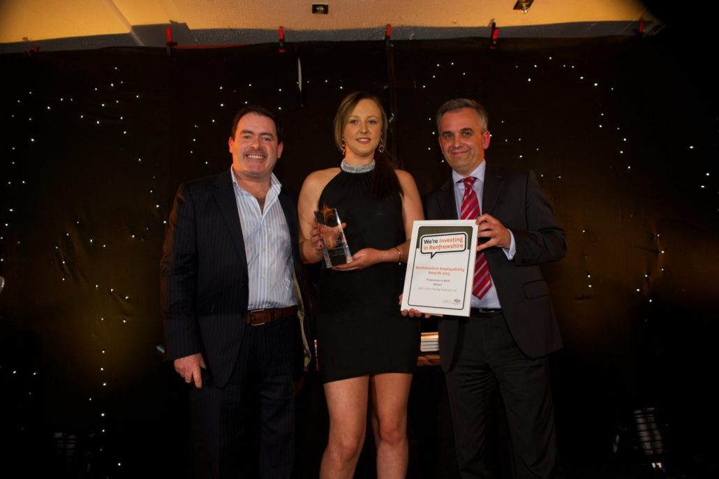 Progression in Work award winner, Beth Leitch with Des McLean and
