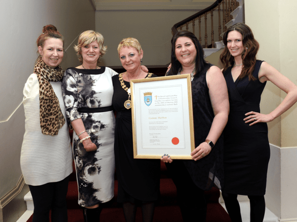 1-Freedom of Renfrewshire recipient Corinne Hutton, Finding Your Feet staff members and Renfrewshire Provost Anne Hall