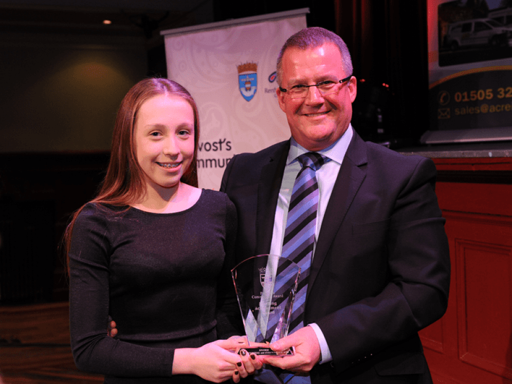 1-Sporting Achievement winner Amiee Pollard and sponsor Jim Price, Acre Industrial and Cleaning Services