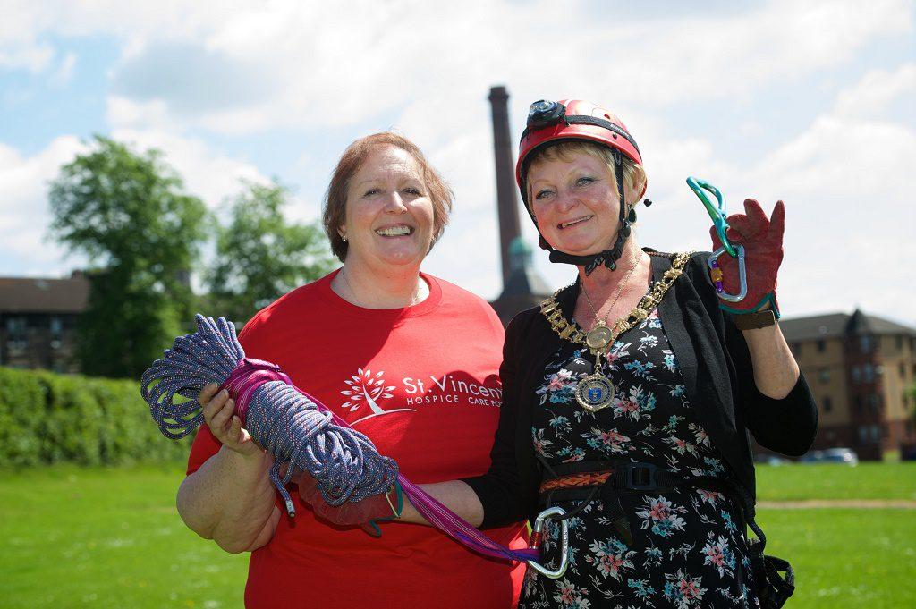 Renfrewshire's Provost Anne Hall and St Vincent's Fundraising and Communications Manager Lesley Miller