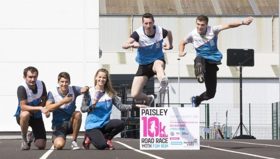 Stuart Terris and Amaury Wicquart in training for the Paisley 10k as colleagues, from left Maciek Zawadzki, Jonathan Younge (correct) and Bertille Mazure look on