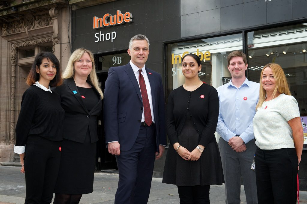 Left to right::  Moroaj Alkenani, Morag Doig (Retail Coordinator), Cllr Mark Macmillan, Amrit Pall, John Docherty, Pauline McAree (Retail Academy Assistant)