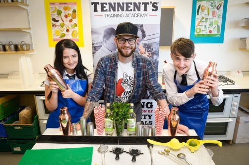Evan Thompson and Honor Roberts get hands on making mocktails with pop-up restaurant Section 33's Kyle Steel