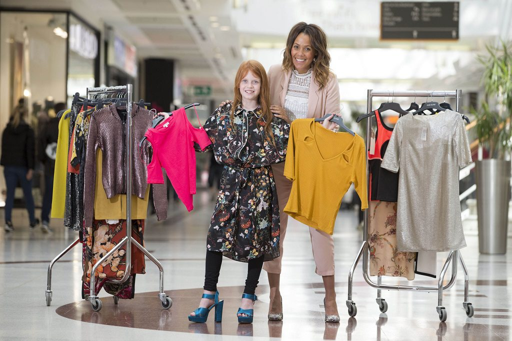 TV presenter, Jean Johansson, left with nine-year-old Ava McKeown, at intu Braehead shopping centre
