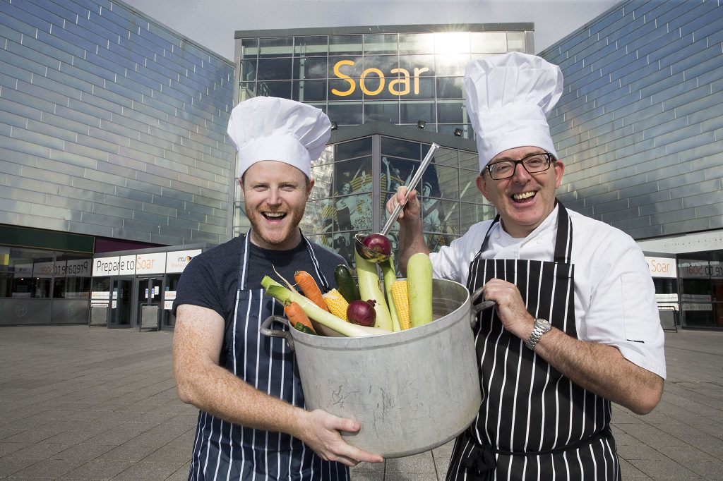 River City actor Gary Lamont, left and chef, John Quigley getting ready for the Great Taste event in Soar at intu Braehead