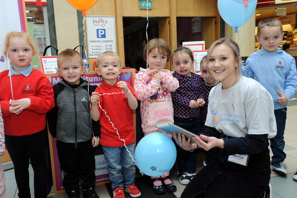 children from Hillview Nursery with Paula Ferrier of My Credit Union Renfrewshire