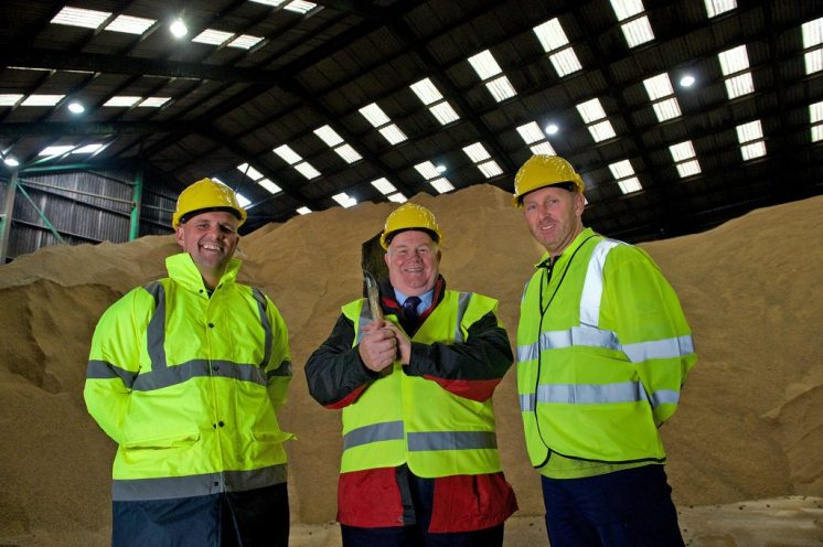 Eddie Devine with Renfrewshire Council gritting staff at grit store