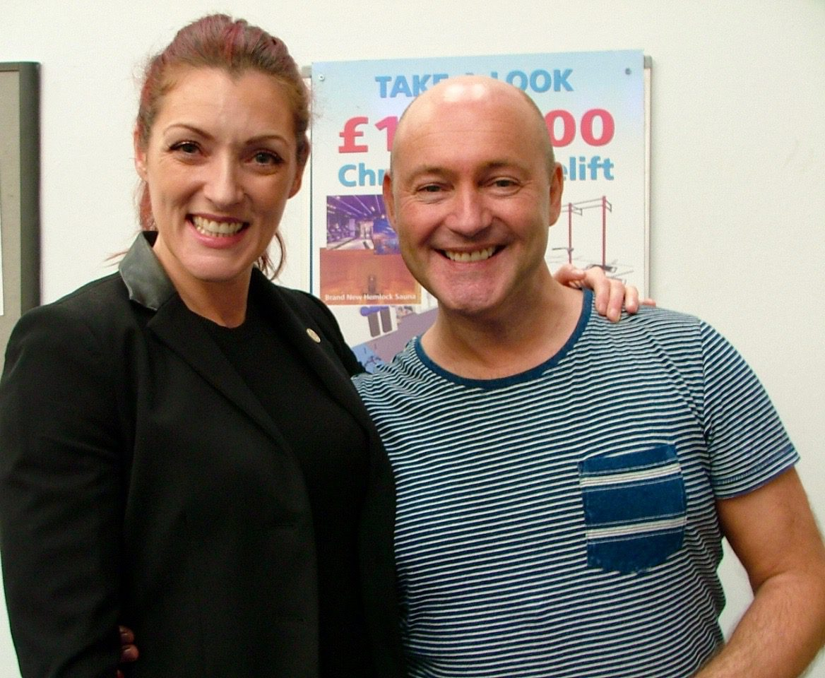 Gayle, chief executive at Renfrewshire Sports Charity with celebrity interior designer John Amabile