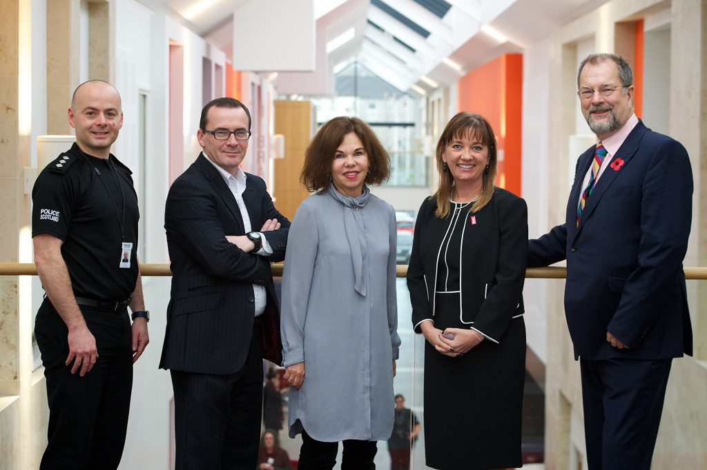 Above: (Left to Right) Chief Inspector Simon Wright; chief officer of Renfrewshire Health and Social Care Partnership David Lees, NHS Greater Glasgow and Clyde director of public health Linda DeCastaecker, Renfrewshire Council chief executive Sandra Black, and independent chair of the Renfrewshire Adult Protection Committee Andrew Lowe.