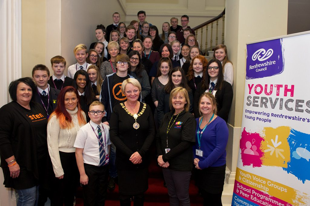 Renfrewshire Provost Anne Hall with young people and supporters at the first Renfrewshire Youth Assembly
