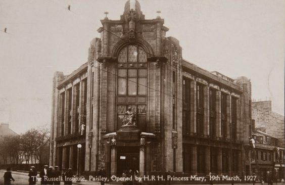 Looking towards the entrance and along both sides of the building. Image has 'The Russell Institute, Paisley, Opened by H.R.H. Princess Mary, 19th March, 1927'