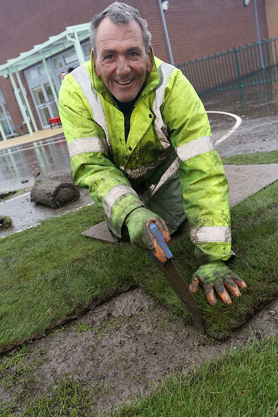 Riverbrae School New Turf PIC SHOWS Andrew Touse from Ambius who laid the new turf