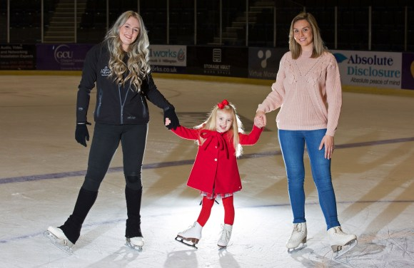 Family Coaching Lessons have started up again at intu Braehead Ice Rink Pictured Ella Ferguson age 4 with Skating Coach Ashley Mitchell and Mum Nicola Ferguson age 27 Mark F Gibson / Gibson Digital infogibsondigital@gmail.co.uk www.gibsondigital.co.uk All images © Gibson Digital 2017. Free first use only for editorial in connection with the commissioning client's press-released story. All other rights are reserved. Use in any other context is expressly prohibited without prior permission.