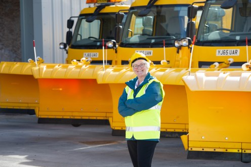 Councillor Cathy McEwan with the gritters