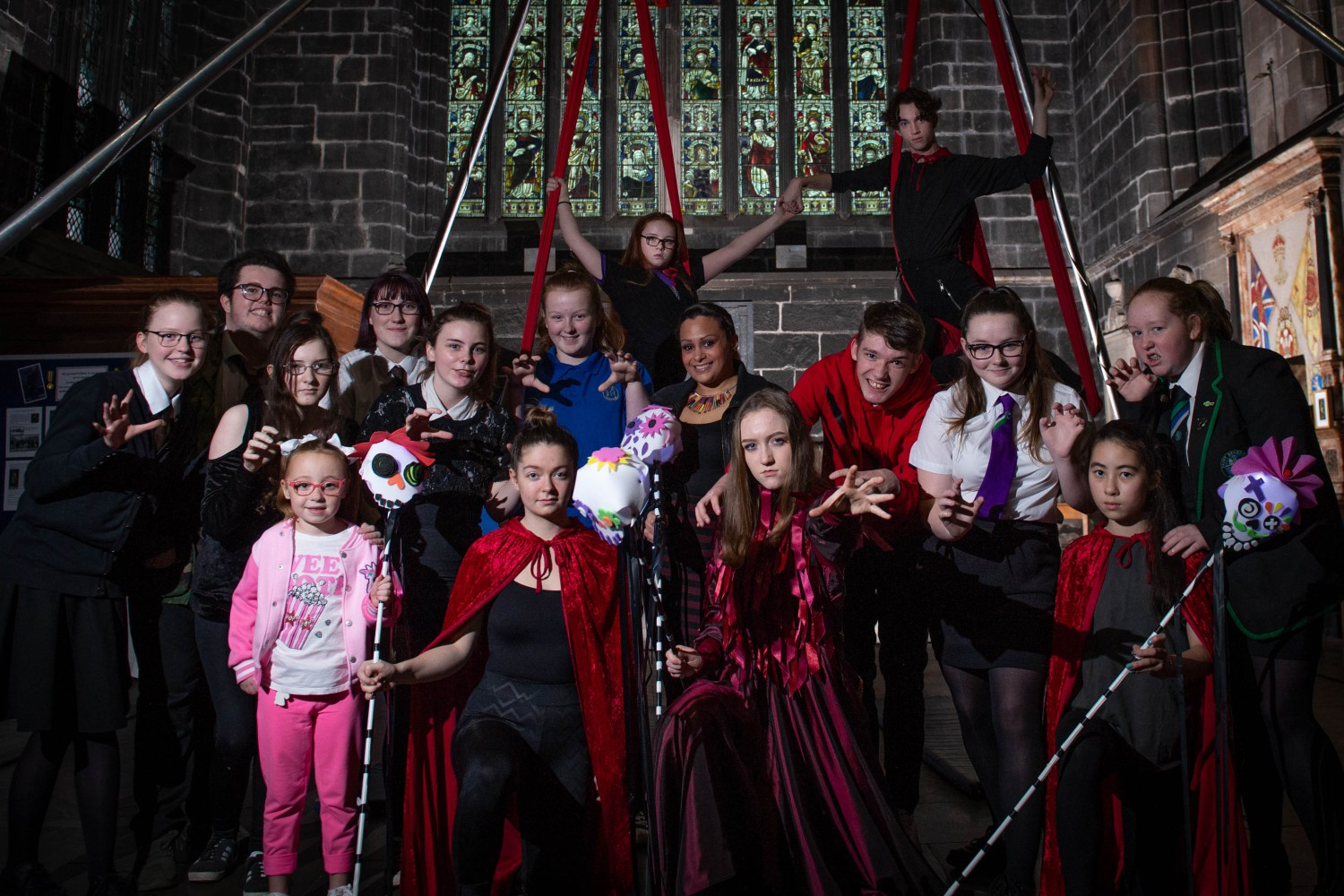 YoYP Champion Cllr Michelle Campbell with young people involved in the Halloween Festival