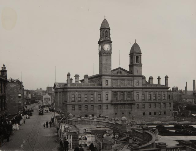 George A. Clark Town Hall and Gauze Street, Paisley, 1894