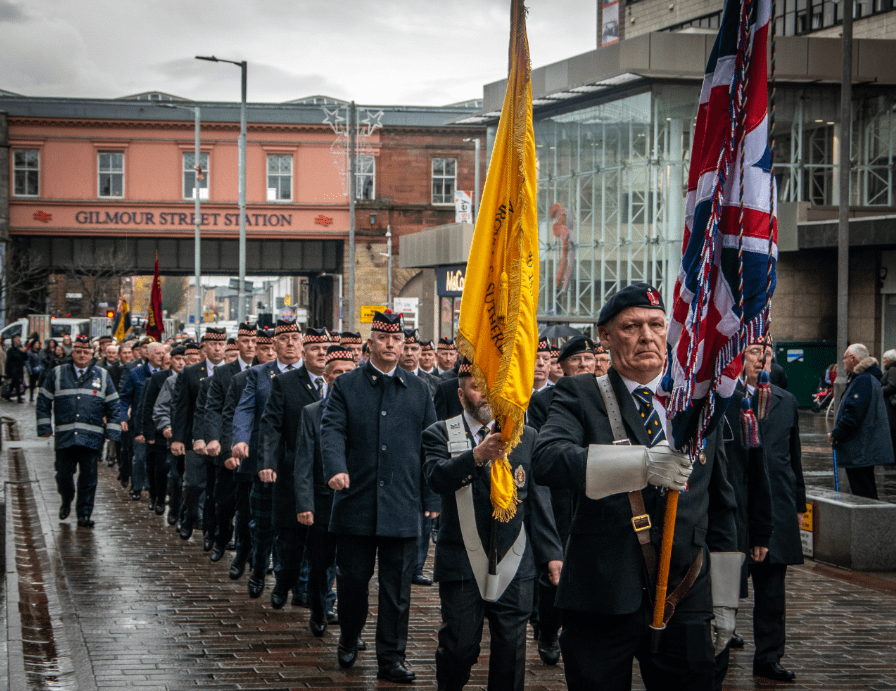 Veterans marching in Paisley