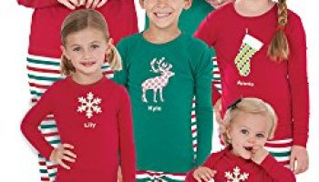 red and green holiday stripe matching pajamas for the whole family