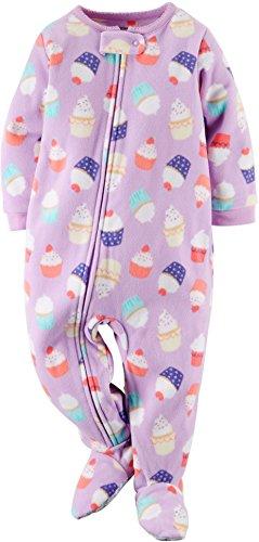 Carters Girls 1 Piece Footed Sleeper Zip Up Fleece Pajama