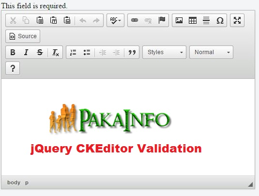 jQuery CKEditor Validation Example with demo - Technology