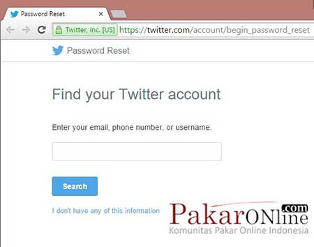 Ganti password Twitter