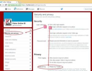 Plih keamanan dan privasi di menu twitter kemudian centangi protect my tweets  Plih keamanan dan privasi di menu twitter kemudian centangi protect my tweets Plih keamanan dan privasi di menu twitter kemudian centangi protect my tweets