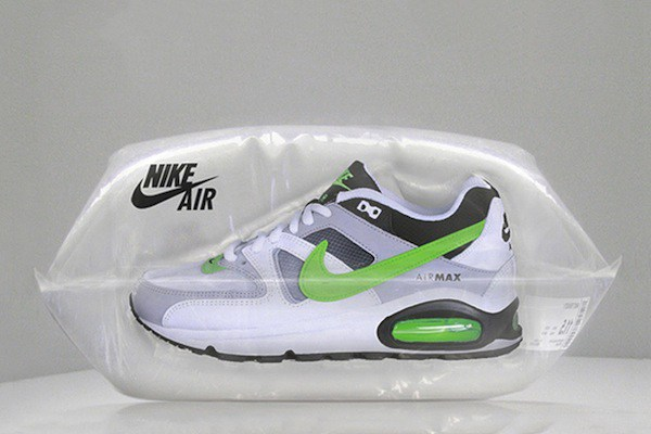 Custom air packaging for Nike-branded shoes.