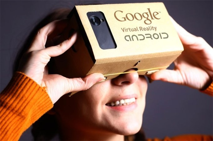 Google VR Glasses made out of cardboard.